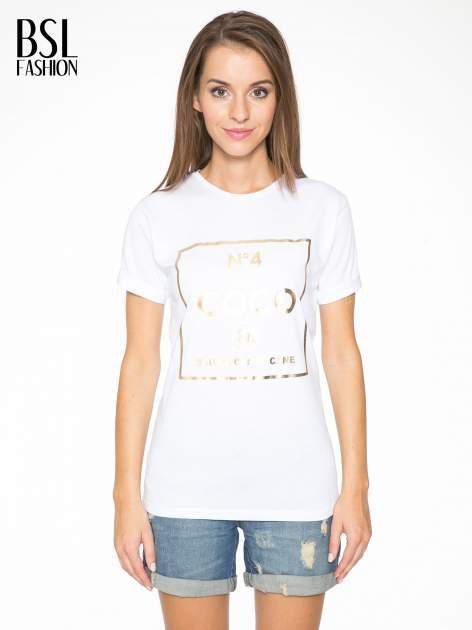 Biały t-shirt ze złotym nadrukiem NO. 4 COCO                                  zdj.                                  1