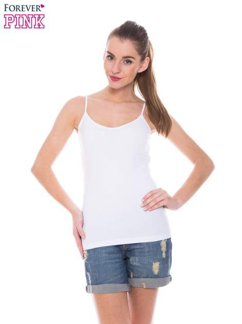 Biały top na cienkich ramiączkach