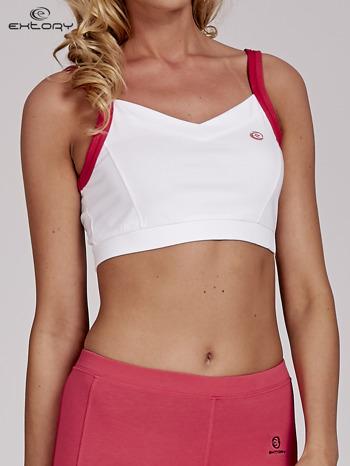 Biały top stanik sportowy z różowymi ramiączkami i wycięciem z tyłu                                  zdj.                                  1