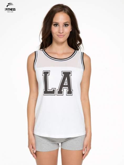 Biały top w stylu koszykarskim z nadrukiem LOS ANGELES i sportową lamówką                                  zdj.                                  1