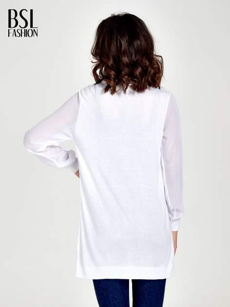 Biały wiązany sweter z przezroczystymi rękawami                                  zdj.                                  4
