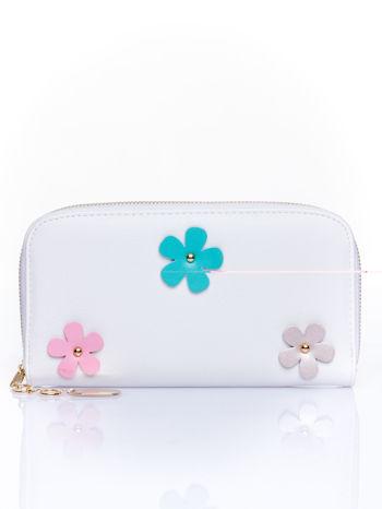 Biały zasuwany portfel w kwiatki                                  zdj.                                  1