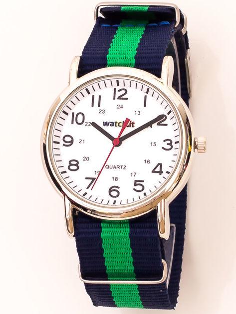Biały zegarek damski na kolorowym nylonowym pasku