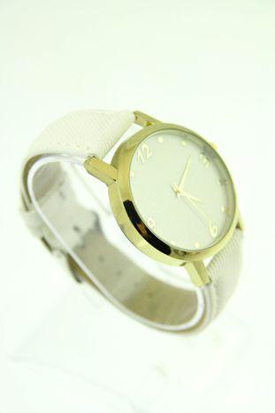 Biały zegarek damski z imitacją jeansu na skórzanym pasku                                  zdj.                                  2