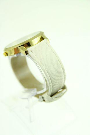 Biały zegarek damski z imitacją jeansu na skórzanym pasku                                  zdj.                                  3