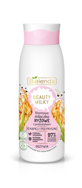 """Bielenda Beauty Milky Kremowe Mleczko Ryżowe z prebiotykiem do kąpieli i pod prysznic - odżywia  400ml"""""""