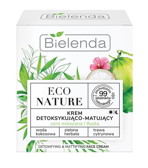 """Bielenda Eco Nature Krem detoksykująco-matujący na dzień i noc - Woda Kokosowa & Zielona Herbata & Trawa Cytrynowa 50ml"""""""