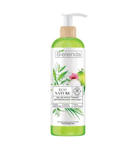 """Bielenda Eco Nature Żel do mycia twarzy detoksykująco-matujący - Woda Kokosowa & Zielona Herbata & Trawa Cytrynowa 200g"""""""