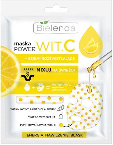 "Bielenda Power Vit.C Maska w płacie + Serum rozświetlające Cytryna  22ml"""