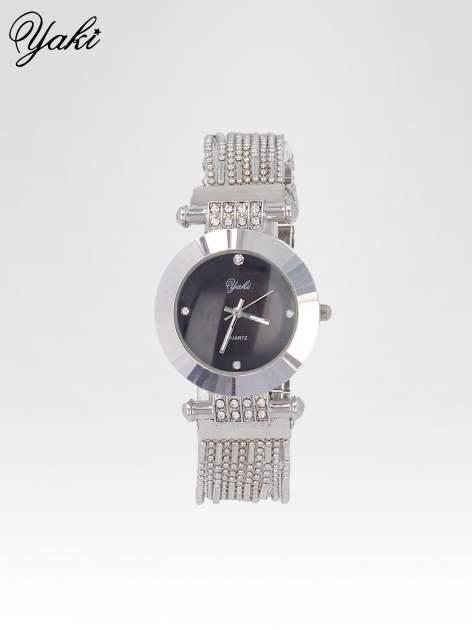 Biżuteryjny srebrny zegarek damski z czarną tarczą                                  zdj.                                  1