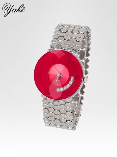 Biżuteryjny srebrny zegarek damski z czerwoną tarczą z cyrkoniami                                  zdj.                                  2