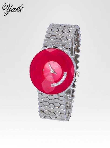 Biżuteryjny srebrny zegarek damski z różową tarczą z cyrkoniami                                  zdj.                                  2