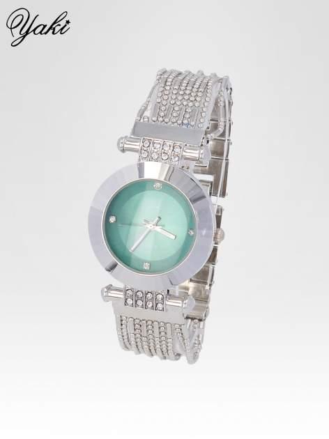 Biżuteryjny srebrny zegarek damski z zieloną tarczą                                  zdj.                                  2