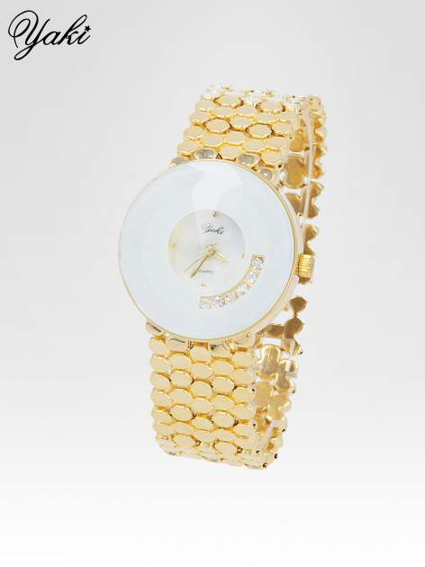 Biżuteryjny złoty zegarek damski z białą tarczą z cyrkoniami                                  zdj.                                  2