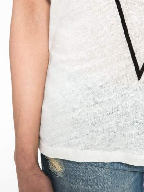 Blady ecru t-shirt z nadrukiem UNIVERSITY FORVER                                  zdj.                                  8