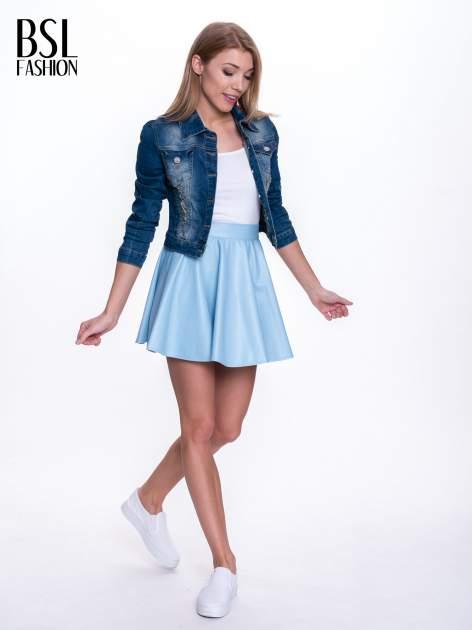 Błękitna mini spódnica skater ze skóry                                  zdj.                                  2