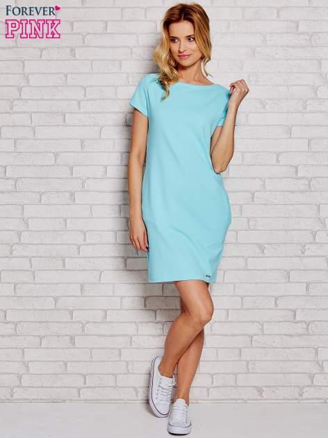 Błękitna sukienka dresowa z kieszeniami                                  zdj.                                  2