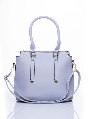 Błękitna torba na ramię z ozdobnymi detalami                                   zdj.                                  1