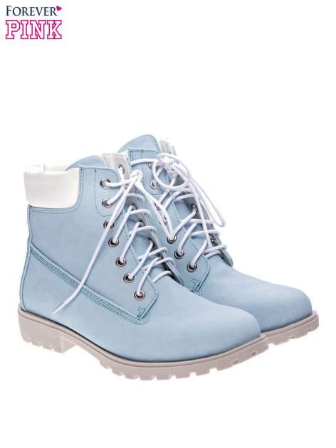 Błękitne buty trekkingowe damskie typu trapery                                  zdj.                                  2