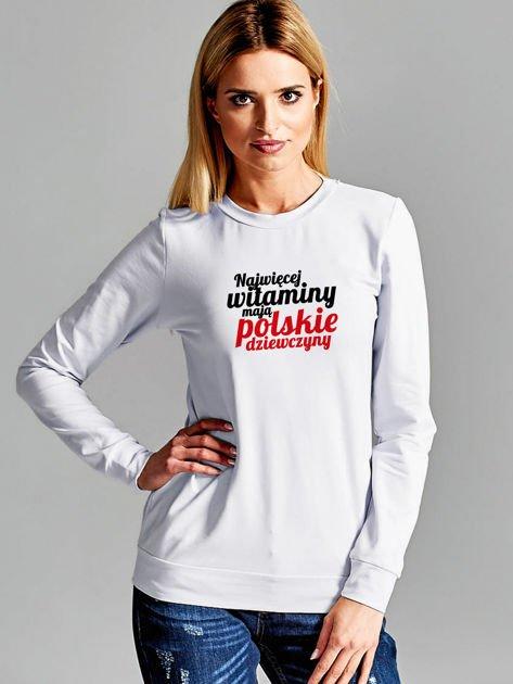 Bluza NAJWIĘCEJ WITAMINY MAJĄ POLSKIE DZIEWCZYNY jasnoszara                              zdj.                              1