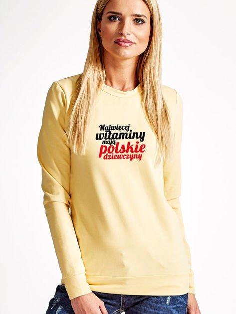 Bluza NAJWIĘCEJ WITAMINY MAJĄ POLSKIE DZIEWCZYNY żółta                              zdj.                              1