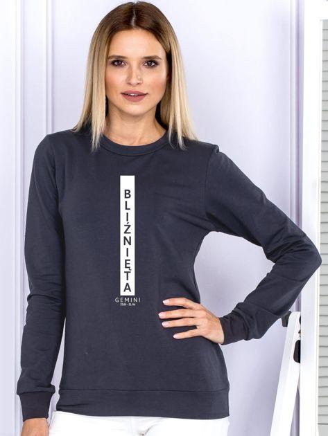 Bluza damska BLIŹNIĘTA znak zodiaku grafitowa                                  zdj.                                  1