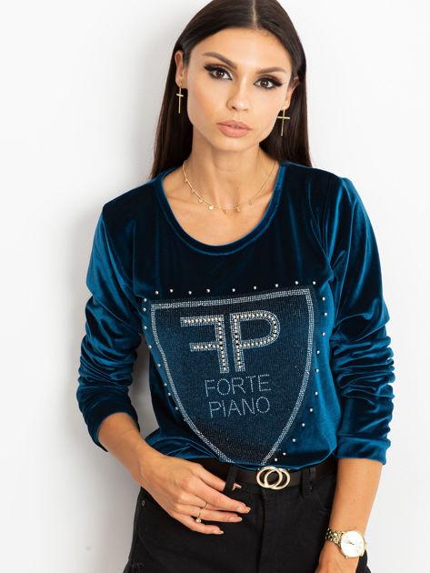 Bluza damska aksamitna z aplikacją z perełek i dżetów morska                              zdj.                              1