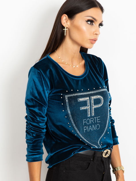 Bluza damska aksamitna z aplikacją z perełek i dżetów morska                              zdj.                              3