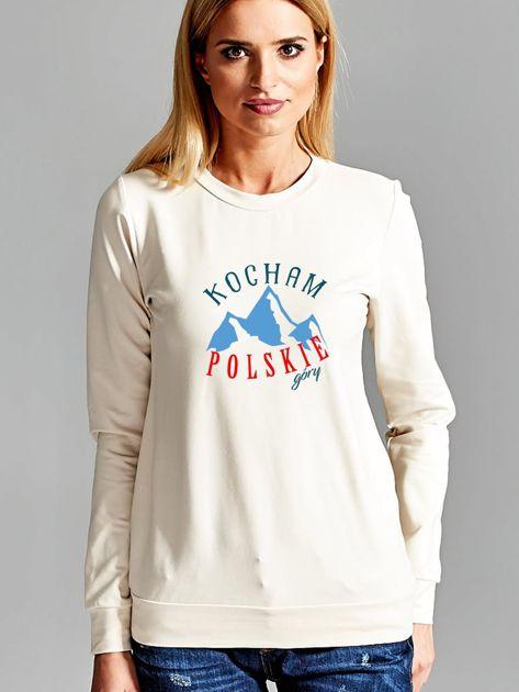 Bluza damska patriotyczna KOCHAM POLSKIE GÓRY ecru                              zdj.                              1
