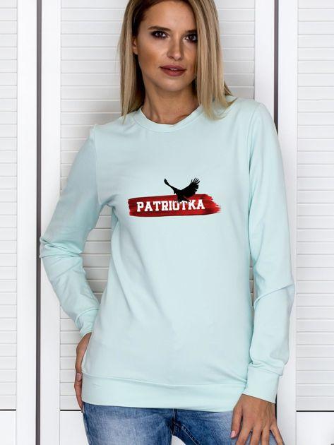 Bluza damska patriotyczna PATRIOTKA z orłem miętowa                                  zdj.                                  1