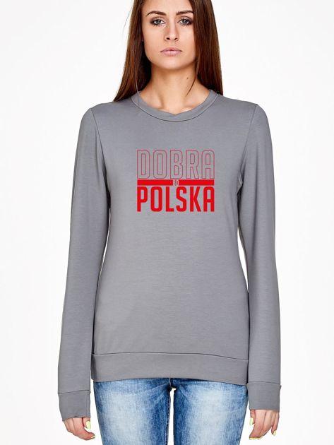 Bluza damska patriotyczna nadruk DOBRA BO POLSKA szara                              zdj.                              1