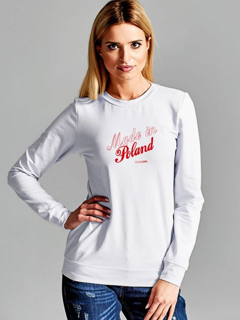 Bluza damska patriotyczna nadruk MADE IN POLAND jasnoszara                                  zdj.                                  1
