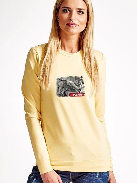 Bluza damska patriotyczna z grafiką I LOVE POLAND żółta                              zdj.                              1