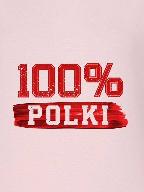 Bluza damska patriotyczna z nadrukiem 100% POLKI różowa                              zdj.                              2