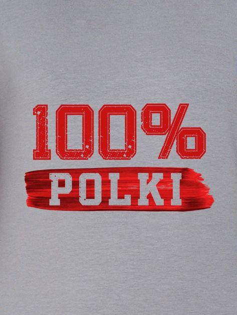 Bluza damska patriotyczna z nadrukiem 100% POLKI szara                              zdj.                              2