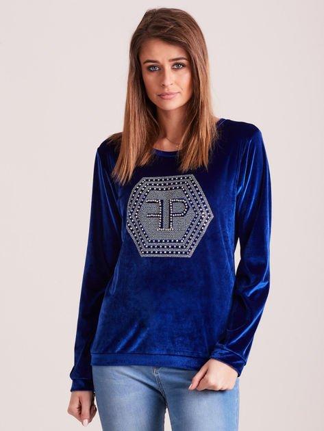 Bluza damska welurowa z błyszczącymi kamykami niebieska                              zdj.                              1