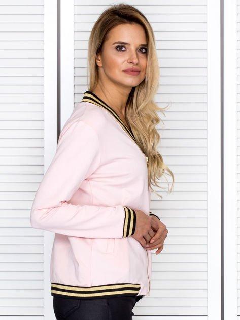 Bluza damska z błyszczącym ściągaczem jasnoróżowa                              zdj.                              3