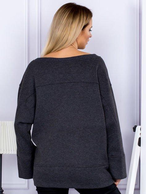 Bluza damska z górskim nadrukiem i szerokimi rękawami ciemnoszara                              zdj.                              2