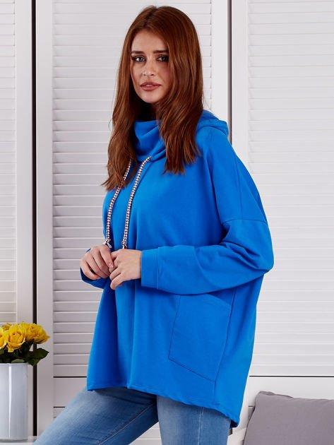 Bluza damska z kolorowymi troczkami niebieska                              zdj.                              3