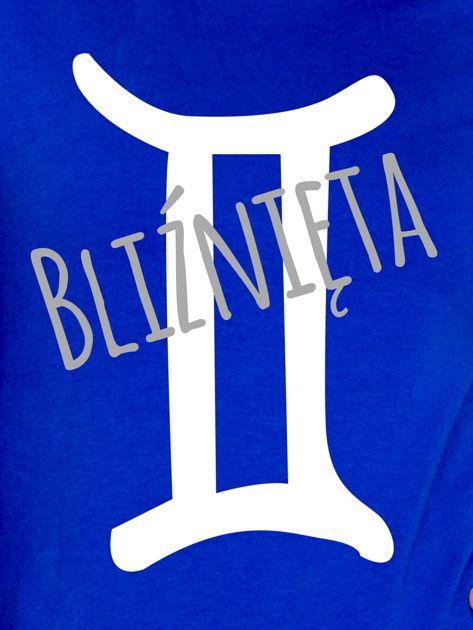 Bluza damska z motywem znaku zodiaku BLIŹNIĘTA kobaltowa                              zdj.                              2