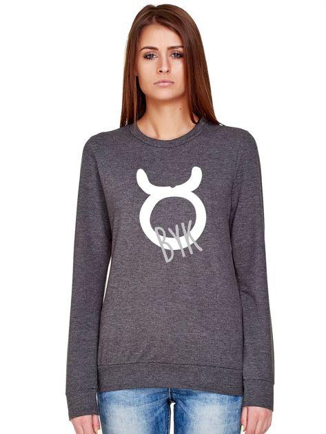 Bluza damska z motywem znaku zodiaku BYK ciemnoszara                              zdj.                              1