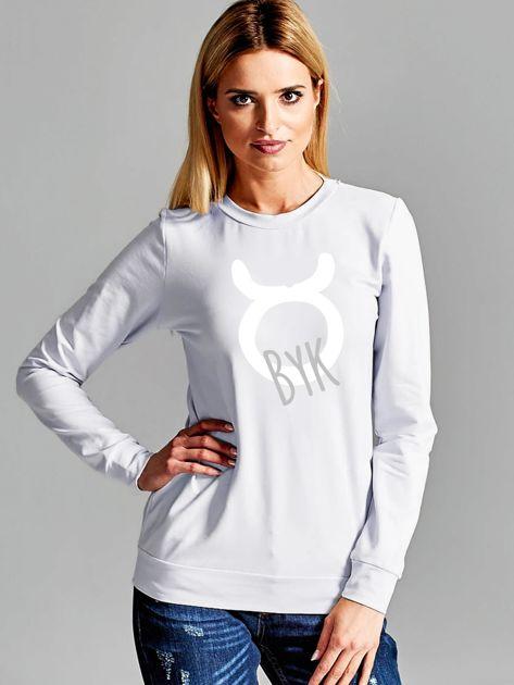 Bluza damska z motywem znaku zodiaku BYK jasnoszara                              zdj.                              1