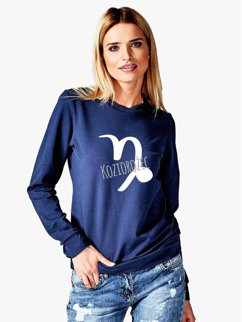 Bluza damska z motywem znaku zodiaku KOZIOROŻEC granatowa                              zdj.                              1