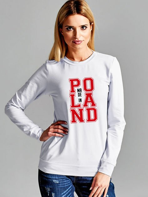 Bluza damska z nadrukiem MADE IN POLAND jasnoszara                              zdj.                              1