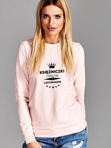 Bluza damska z nadrukiem tekstowym KSIĘŻNICZKA różowa                              zdj.                              1