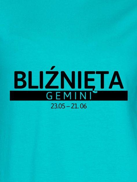 Bluza damska z nadrukiem znaku zodiaku BLIŹNIĘTA miętowa                              zdj.                              2