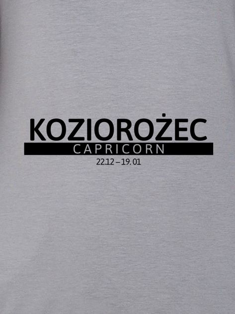 Bluza damska z nadrukiem znaku zodiaku KOZIOROŻEC szara                              zdj.                              2
