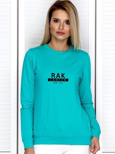 Bluza damska z nadrukiem znaku zodiaku RAK miętowa                                  zdj.                                  1
