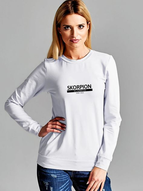 Bluza damska z nadrukiem znaku zodiaku SKORPION jasnoszara                                  zdj.                                  1