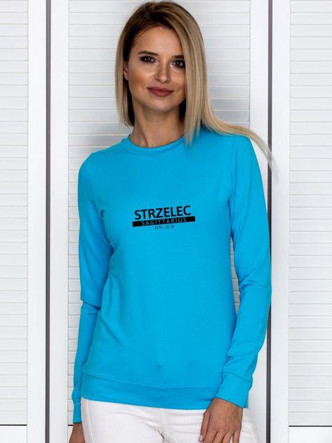Bluza damska z nadrukiem znaku zodiaku STRZELEC turkusowa                              zdj.                              1